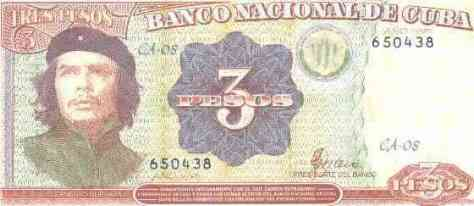 Cuban 3 pesos bill with Che's picture.