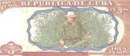 Cuban 3 pesos bill with Che's picture during the sugar cane harvest.